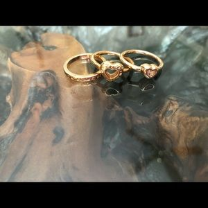 Gold Coach heart stacking ring set
